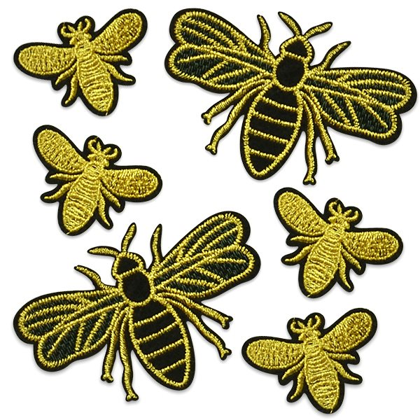 Embroidered Silk Set of Six Bees Appliques ESA6410