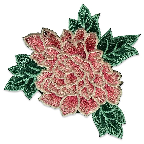Coral Rose Embroidered Applique Iron On Patch 6.5 ESA6416