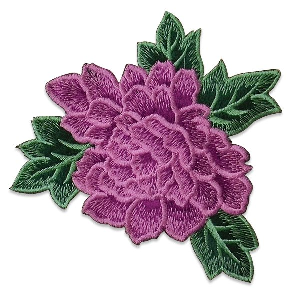 Purple Rose Embroidered Applique Iron On Patch 6.5 ESA6416