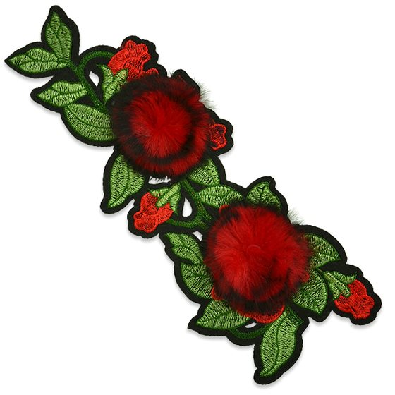 Red Rose Applique Embroidered Iron On Clothing Patch 10.5 ESA6427