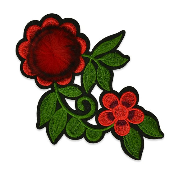 Red Rose Applique Embroidered Iron On Clothing Patch 7.5 ESA6429