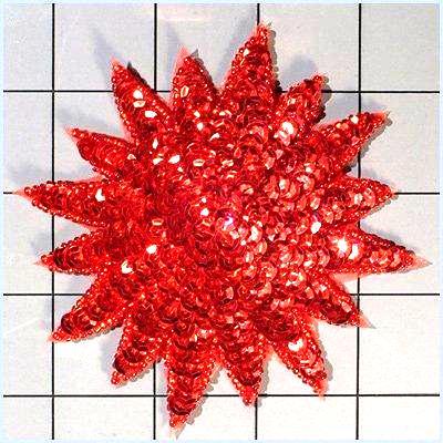 FS3378 Red Starburst Beaded Sequin Applique 4