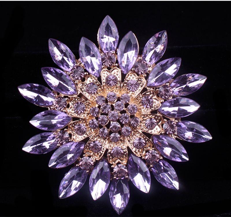 Bridal Rhinestone Brooch Floral Lavender Gold Starburst Pin (GB607)