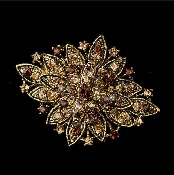 GB80 Gold Brown Bridal Rhinestone Brooch Pin Vintage Glass 2.5\