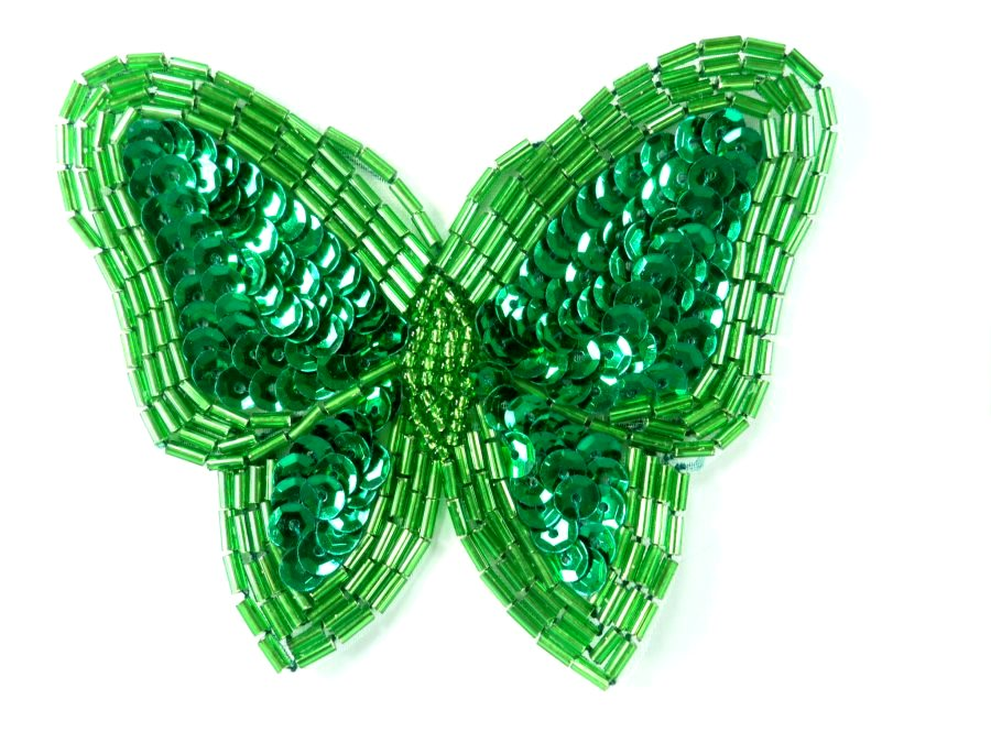 FaceBook Sale #1 Green Sequin Butterfly Applique one Butterfly