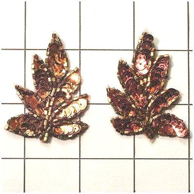 FS476S Leaf Appliques Sequin Bronze Mirror Pair Beaded Motif 2\