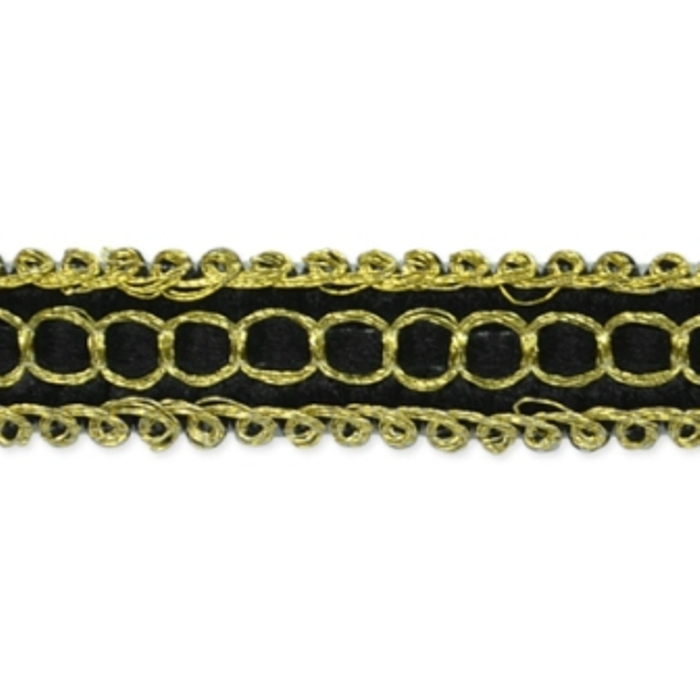 E7026 Black Gold Woven Braid Sewing Craft Trim 1/2