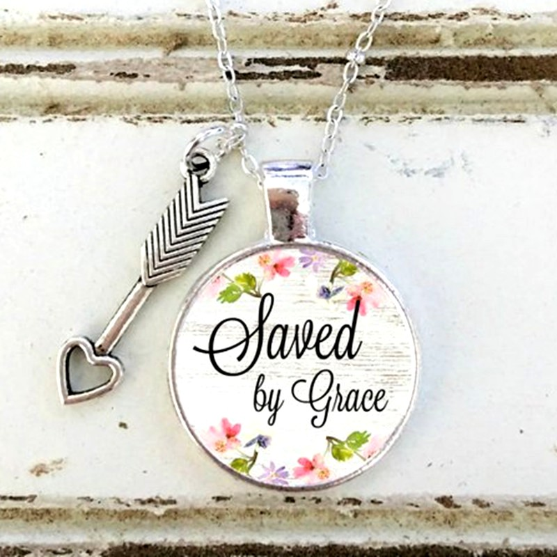 Scripture Pendant Saved by Grace Inspirational Necklace Christian Jewelry w/ Silver Chain JW226