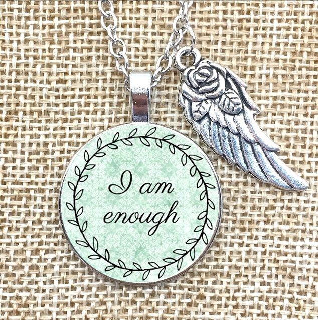 Inspirational Pendant I am Enough Wing Charm Necklace Jewelry w/ Silver Chain JW227