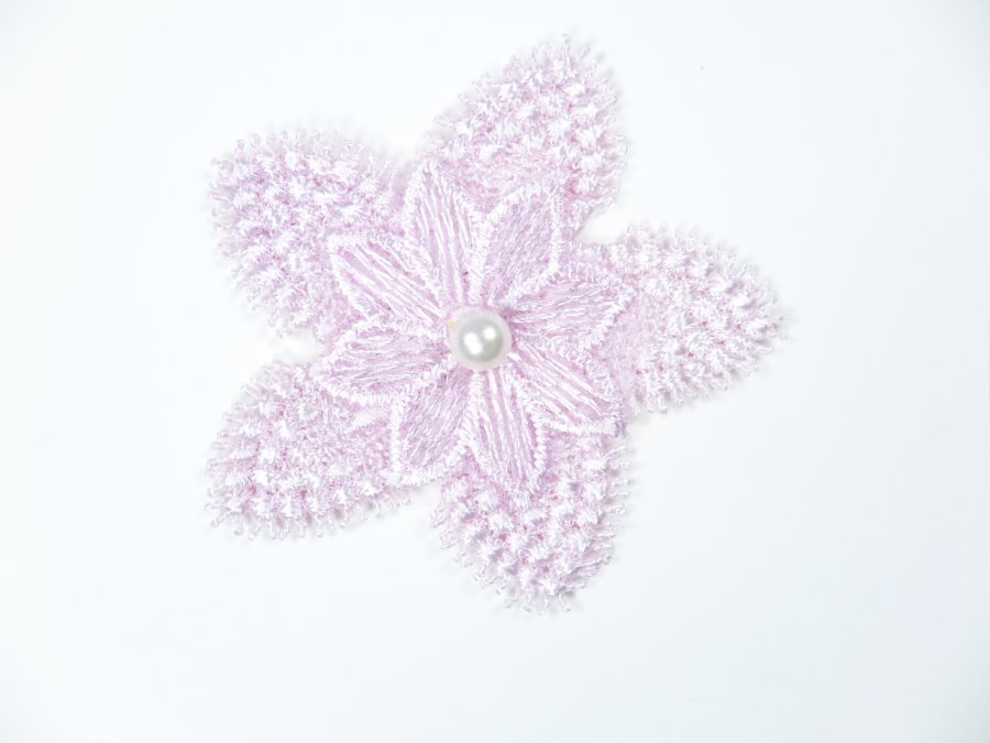 3D Applique Embroidered Floral Lavender Pearl Craft Patch 3 (GB719)