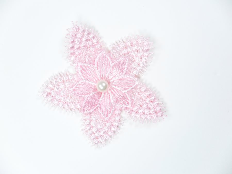 3D Applique Embroidered Floral Pink Pearl Craft Patch 3 (GB719)