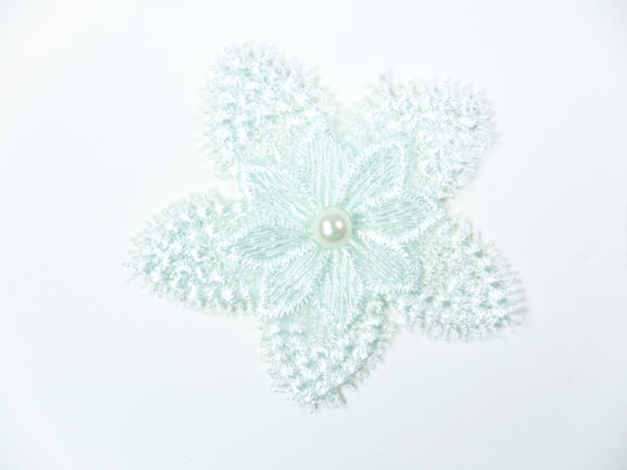 3D Applique Embroidered Floral Mint Green Pearl Craft Patch 3 (GB719)