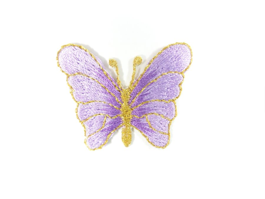 Butterfly Embroidered Applique Lavender Iron On Patch 1.5 GB706