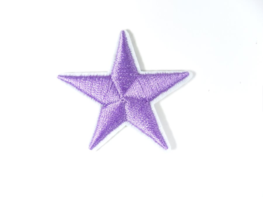 Star Embroidered Applique Lavender With White Edge Iron On Patch 1.5 GB711