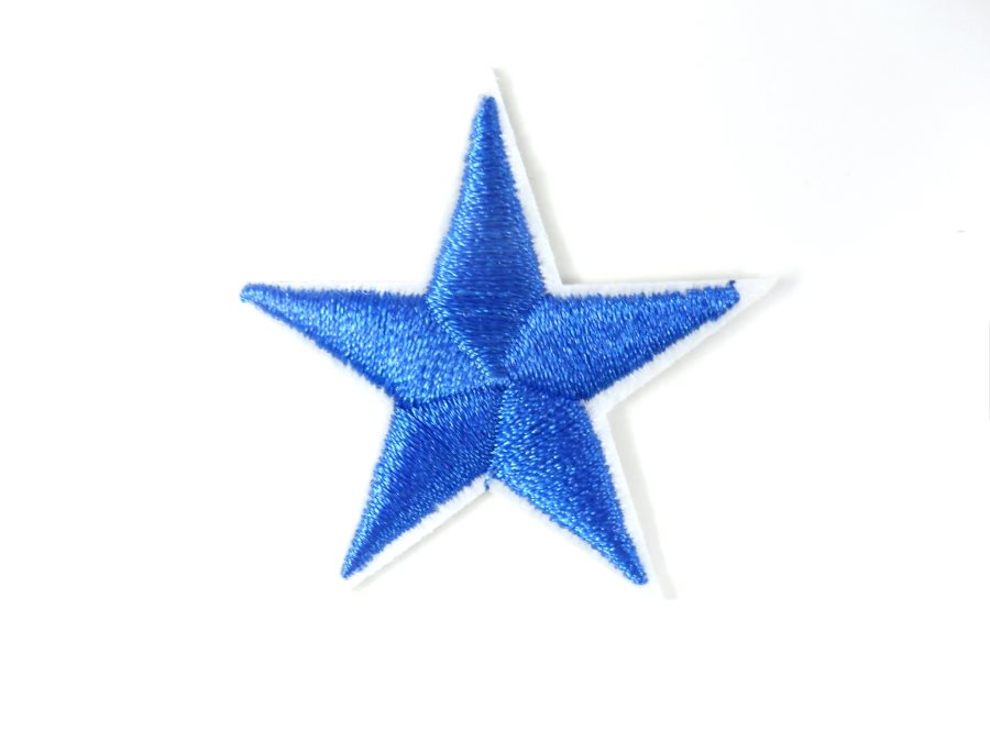 Star Embroidered Applique Blue With White Edge Iron On Patch 1.5 GB711