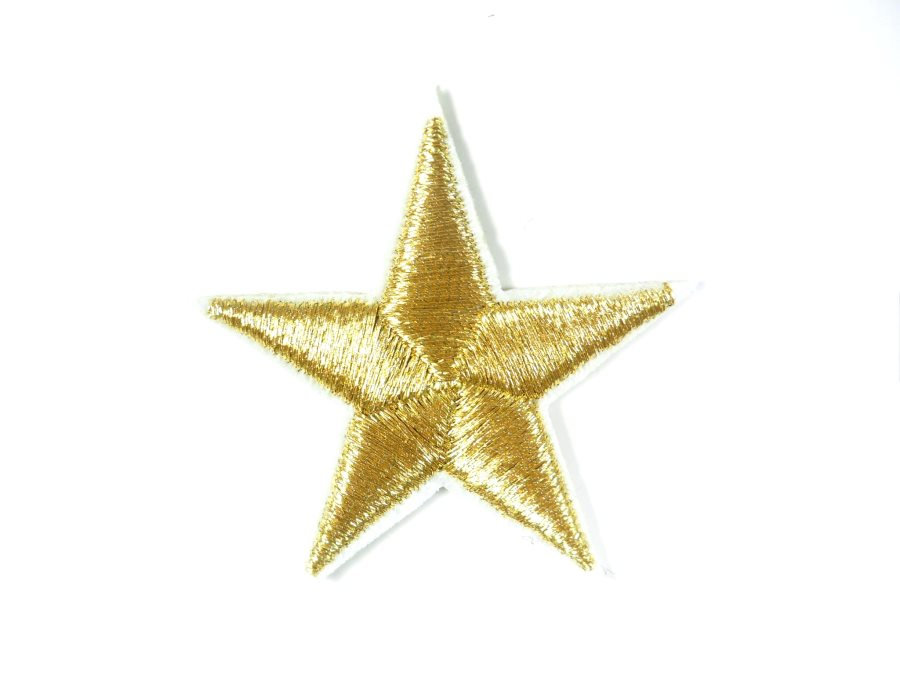 Star Embroidered Applique Metallic Gold With White Edge Iron On Patch 1.5 GB711