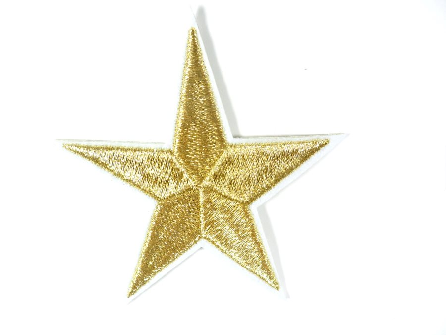 Star Embroidered Applique Metallic Gold With White Edge Iron On Patch 3 GB710