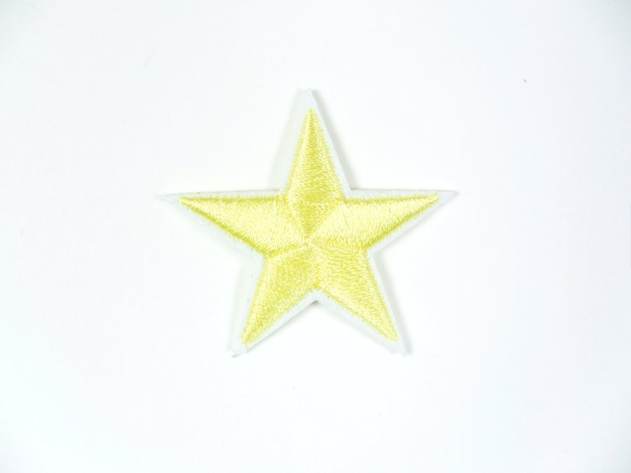 Star Embroidered Applique Light Yellow With White Edge Iron On Patch 1.5 GB711