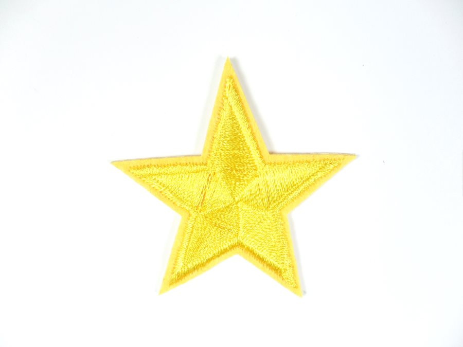Star Embroidered Applique Yellow Gold Iron On Patch 2 GB715