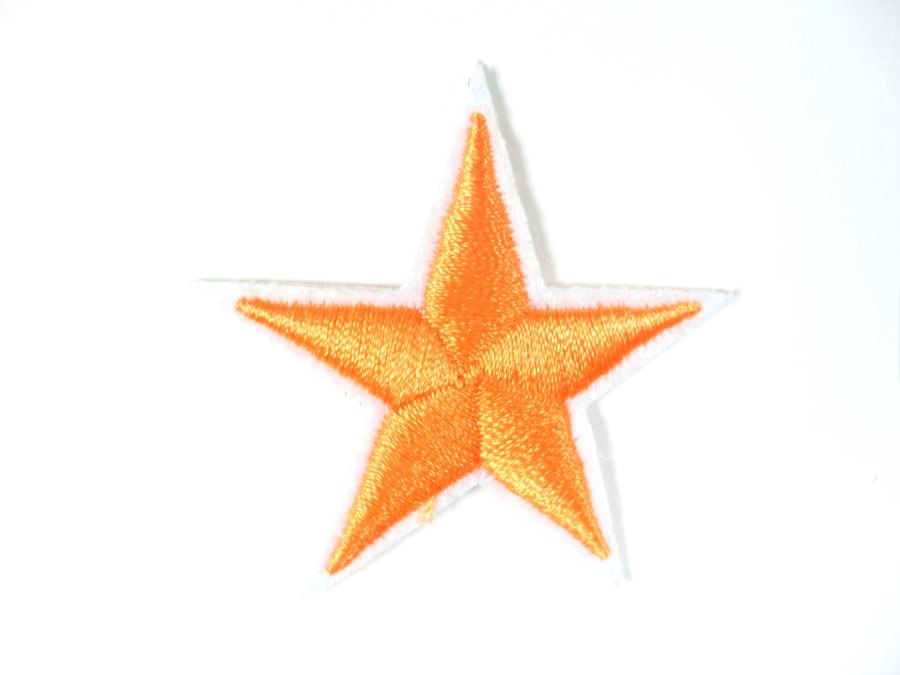 Star Embroidered Applique Orange With White Edge Iron On Patch 1.5 GB711