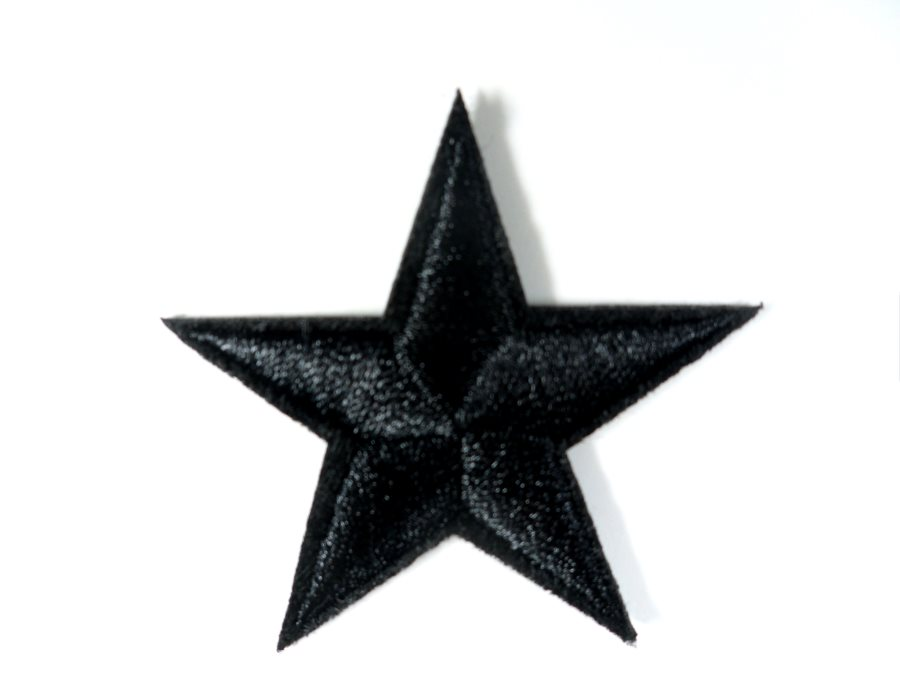 Star Embroidered Applique Black Iron On Patch 2.75 GB709
