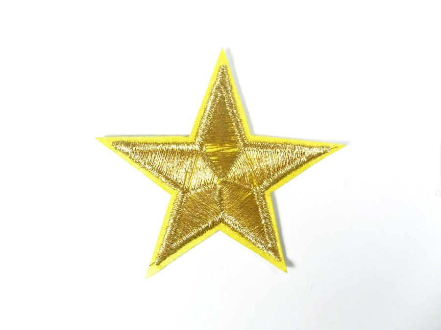 Star Embroidered Applique Metallic Gold Iron On Patch 2.25 GB716