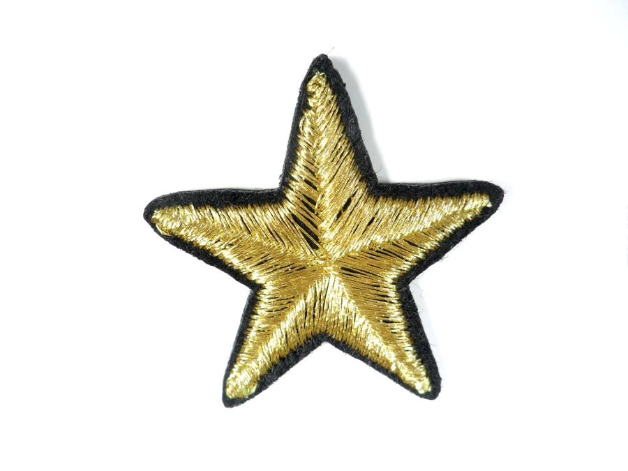 Star Embroidered Applique Metallic Gold With Black Edge Iron On Patch 1.5 GB713