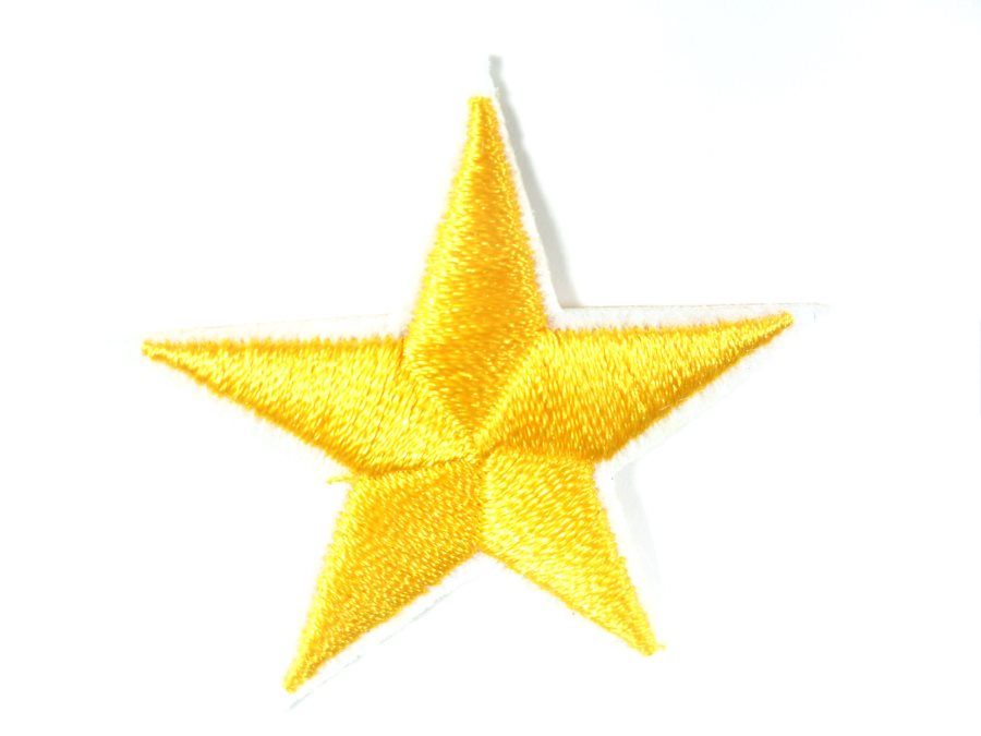 Star Embroidered Applique Yellow Gold With White Edge Iron On Patch 1.5 GB711
