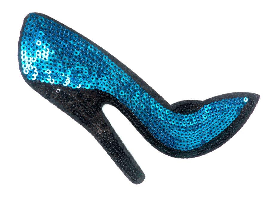 High Heeled Shoe Applique Sequin Turquoise Iron On Patch 5.5 GB702-sl