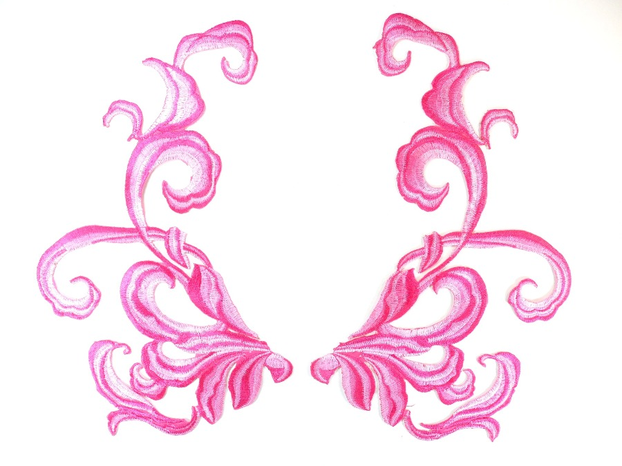 Pink Fuschia Embroidered Appliques Dance Costume Mirror Pairs 11 GB289X