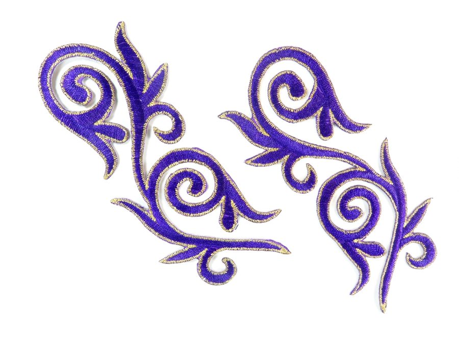 Embroidered Applique Mirror Pair Purple Gold Metallic Iron On Patch 5.25 GB120X