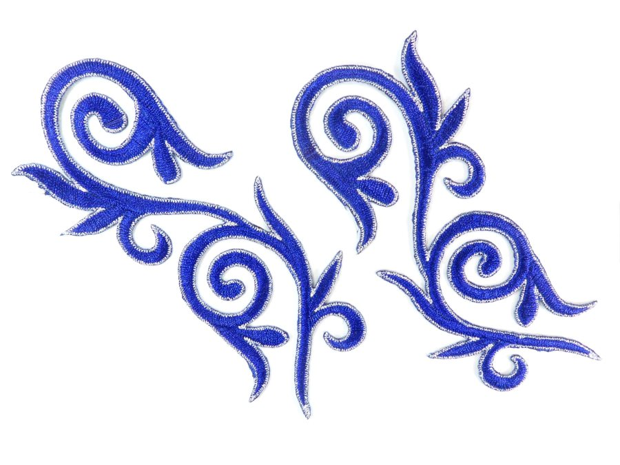 Embroidered Applique Mirror Pair Blue Silver Metallic Iron On Patch 5.25 GB120X