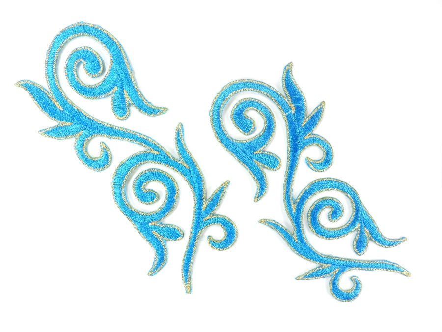 Embroidered Applique Mirror Pair Turquoise Gold Metallic Iron On Patch 5.25 GB120X