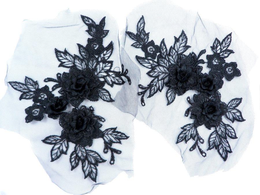 3D Embroidered Lace Appliques Black Floral Venice Lace Mirror Pair 7.5  BL133X