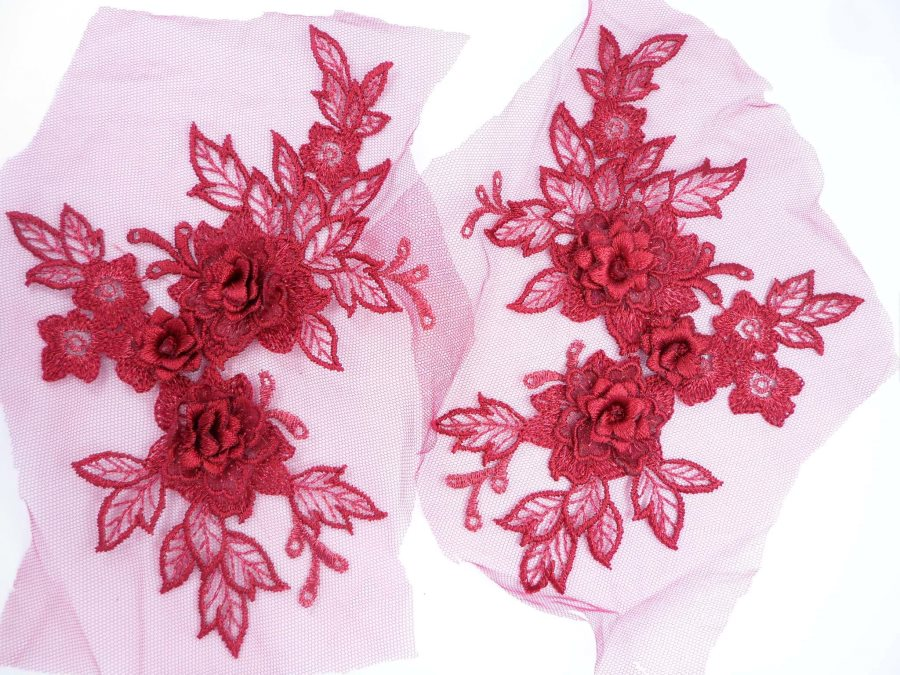 3D Embroidered Lace Appliques Brick Red Floral Venice Lace Mirror Pair 7.5  BL133X