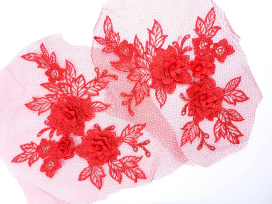 3D Embroidered Lace Appliques Red Floral Venice Lace Mirror Pair 7.5  BL133X