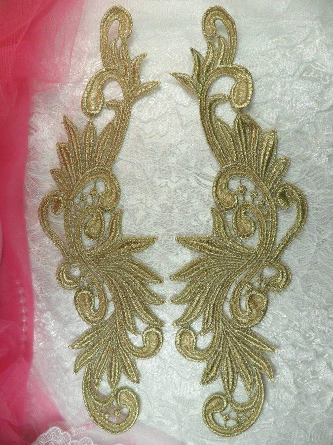 N92 Venise Lace Appliques Mirror Pair Antique Gold Metallic 11.75