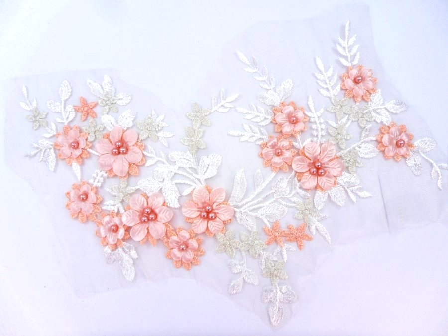 Floral Applique Three Dimensional Embroidered Lace White Peach Sewing Patch 14.5 inches BL142