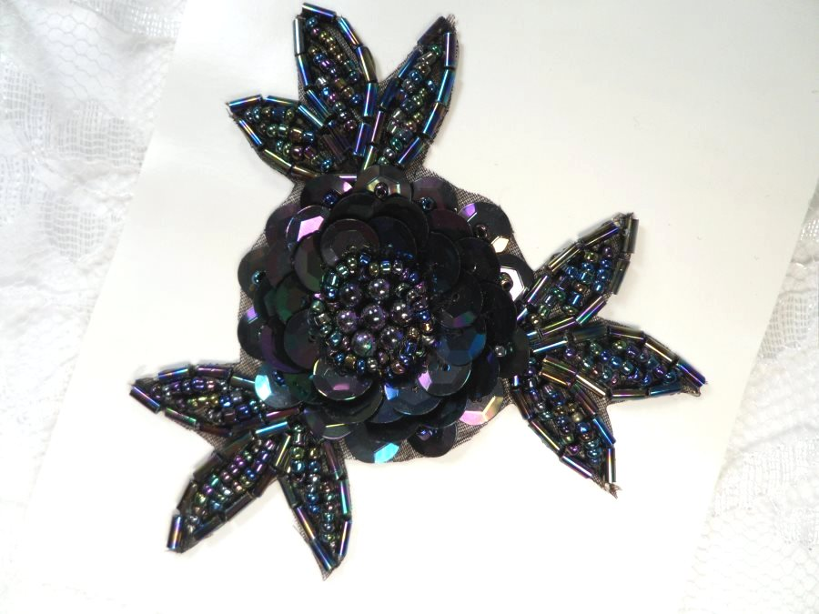 LC1653 Flower Applique Sequins w/ beads Sewing Crafts Floral Costume Patch Black AB 3.25