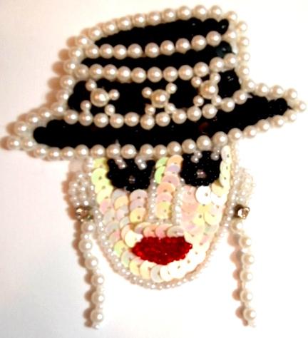 LC28 Ladies Face Sequin Beaded Applique 3\