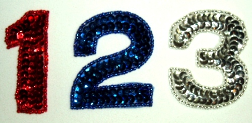 LC325  Numbers ( 1 2 3 ) Sequin Beaded Appliques