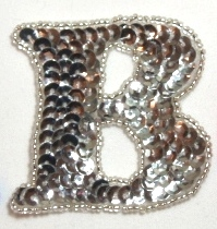LC326  Letter  ( B ) Silver Sequin Beaded Applique 2.25""