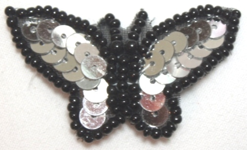 LC336 Silver Black Butterfly Sequin Beaded Applique 1.75