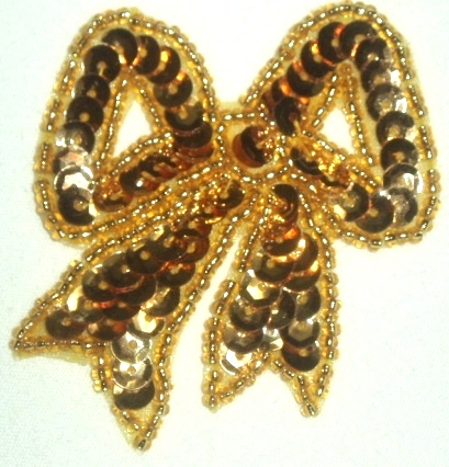 LC359  Gold Bow Sequin Beaded Applique  2.25