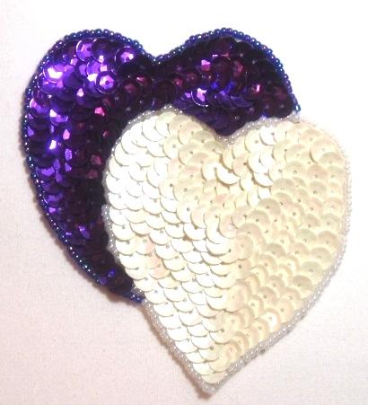 LC362 Purple White Double Heart Sequin Beaded Applique  3.75