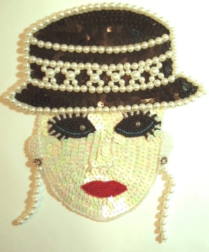 LC60 Lady with Hat Sequin Beaded Applique 8\