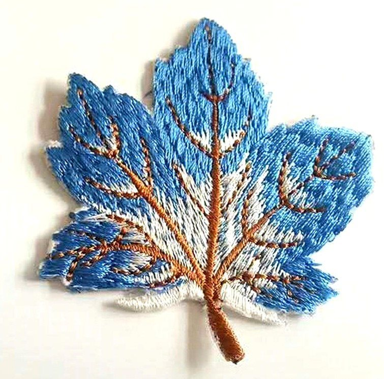 Embroidered Blue Leaf Applique Iron On Clothing Patch Craft Motif GB770