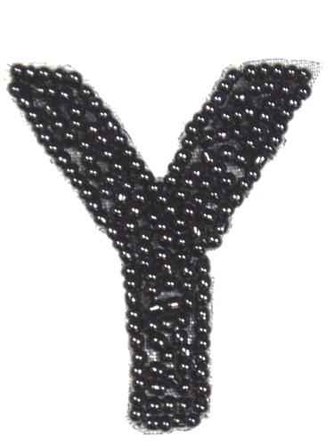 K1  Black Beaded Letter ( Y ) Applique  1.75\