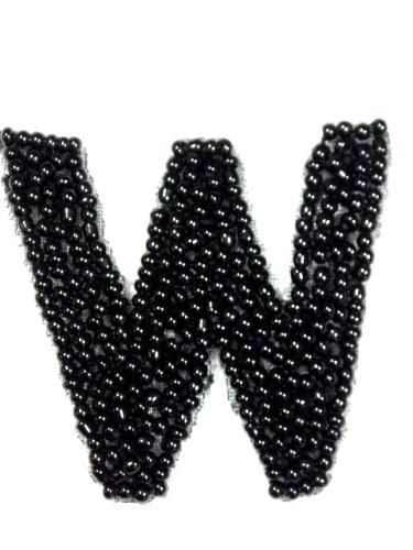 K1  Black Beaded Letter ( W ) Applique  1.75\