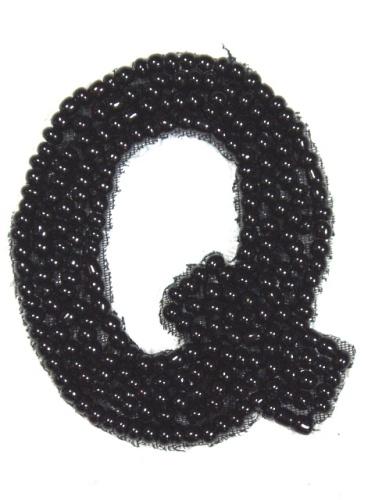 K1  Black Beaded Letter ( Q ) Applique  1.75\